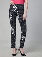 Floral Print Slim Leg Pants, Black, hi-res