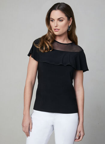 Illusion Neckline Top, Black, hi-res