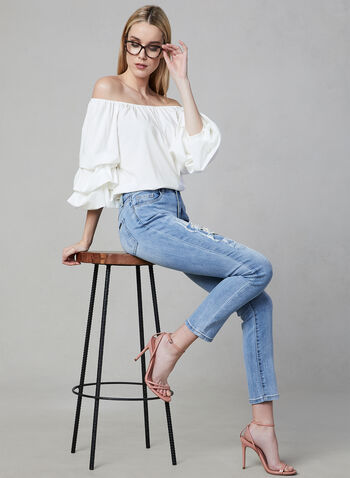 Joseph Ribkoff - Floral Embroidered Jeans, Blue, hi-res,  pants, jeans, denim, slim leg, embroidery, pearls, spring 2019, online exclusive
