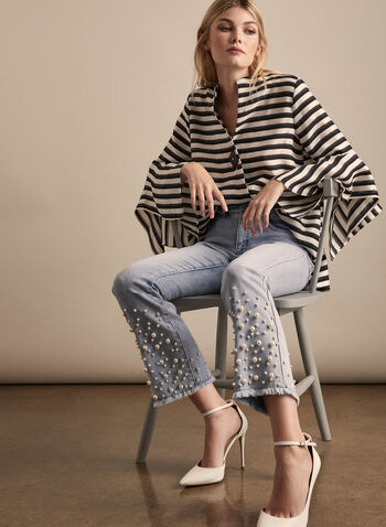 Joseph Ribkoff - Pearl Embellished Flare Leg Jeans, Blue,  jeans, denim, flare leg, 5 pockets, pearls, fringe, stretchy, spring summer 2020