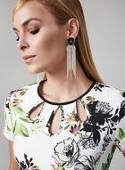 Robe fourreau à fleurs et rayures, Blanc, hi-res