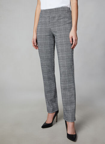 Madison Mixed Print Pants, Black,  canada, plaid print, houndstooth print, print pants, pants, madison, houndstooth, checkered, comfortable, fall 2019, winter 2019