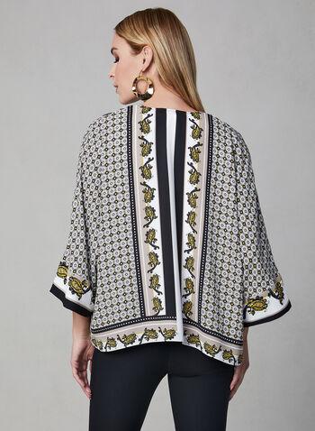 Blouse kimono à motif foulard, Brun, hi-res,  ouvert, mousseline, printemps 2019