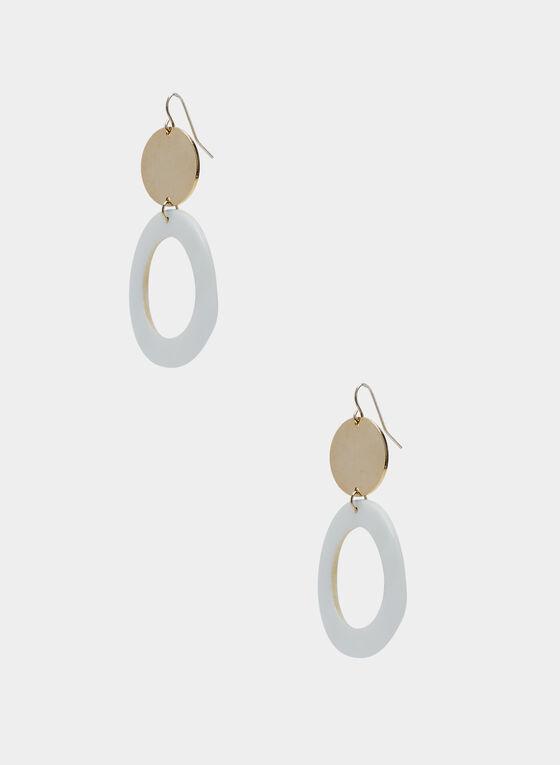 Dangle Hoop Earrings, Gold, hi-res