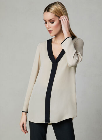 Long Sleeve Contrast Trim Blouse, Off White, hi-res