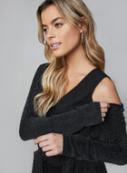 Metallic Open Front Top, Black