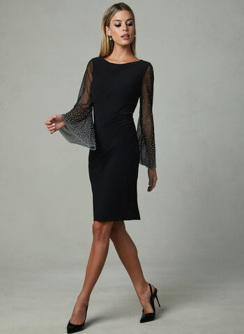 Cachet - Illusion Sleeve Dress, Black, hi-res