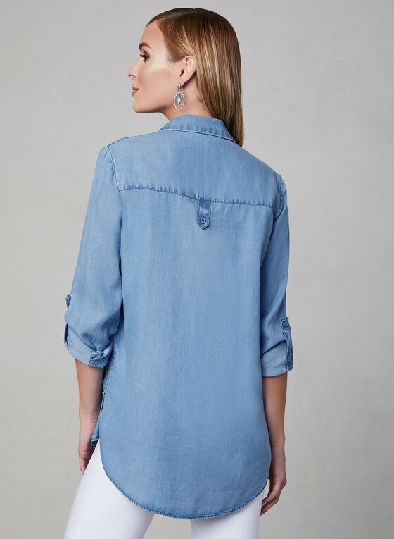Long Sleeve Denim Shirt, Blue, hi-res