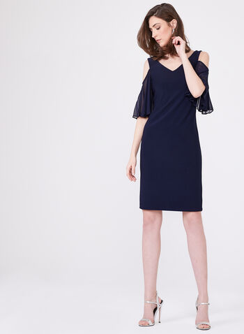 Frank Lyman – Ruffled Elbow Sleeve Cold Shoulder Sheath Dress, Blue, hi-res