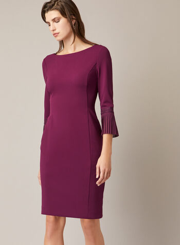 Dress With Pleated Elbow Sleeves, Purple,  fall winter 2020, fitted dress, boat neck, ¾ sleeves, pleated