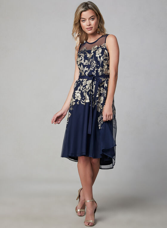 Glamour - Robe cintrée à broderies florales, Bleu, hi-res