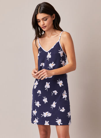 Floral Motif Sleeveless Nightshirt, Blue,  sleepwear, floral, nightshirt, sleeveless, spaghetti straps, fall winter 2020