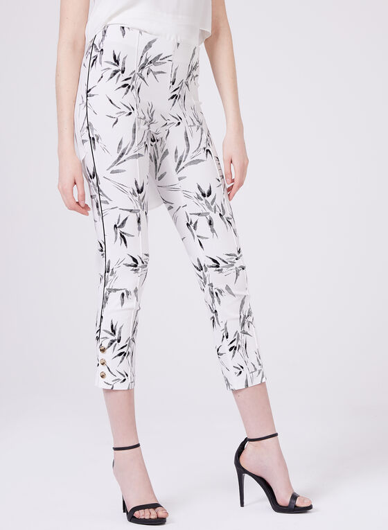 Pull-On Palm Leaf Print Capris, Black, hi-res