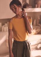 T-shirt à manches courtes ajourées, Jaune