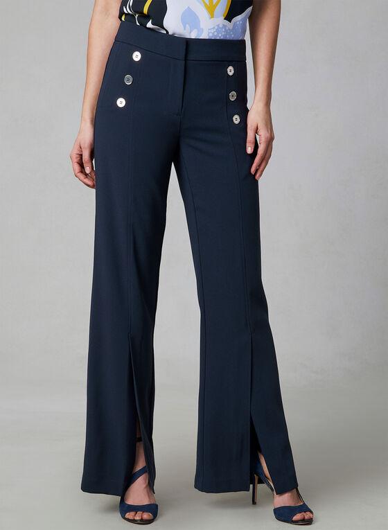 Wide Leg Button Detail Pants, Blue, hi-res