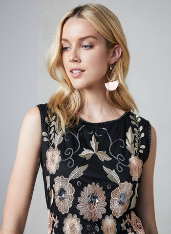 Frank Lyman - Embroidered Sheath Dress, Black, hi-res,  boat neck, beads, mesh, spring 2019
