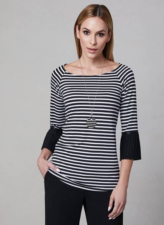 Stripe Print Bell Sleeve Top, Black, hi-res
