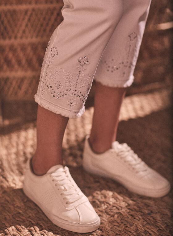 Embellished Denim Capris, White