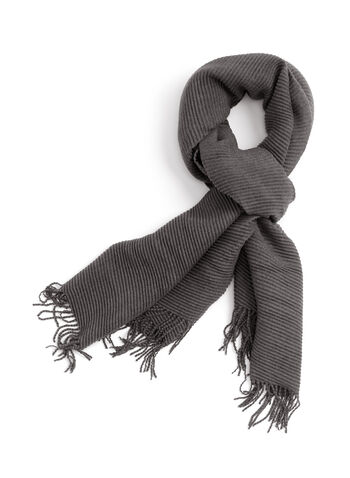 Ribbed Neck Wrap, Grey, hi-res