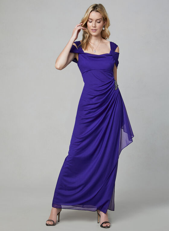 Alex Evenings - Draped Evening Dress, Purple