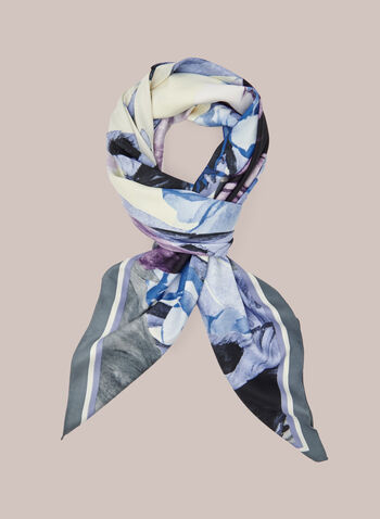 Feather Print Lightweight Scarf, Blue,  scarf, square, lightweight, feather, print, spring summer 2021