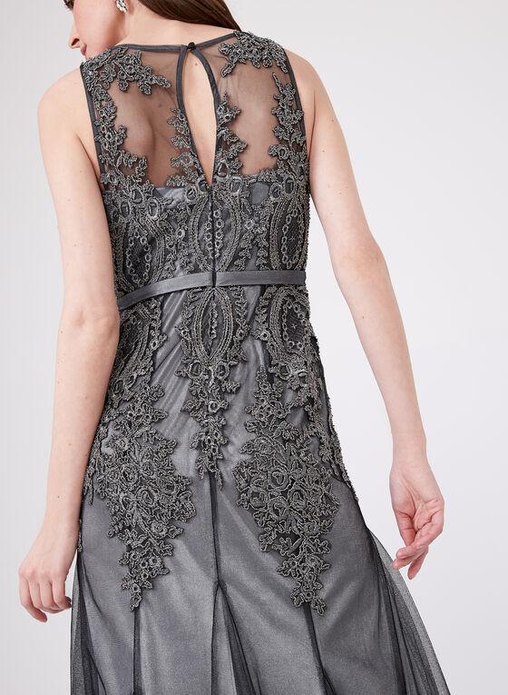 DeCode 1.8 – Sleeveless Soutache Lace Godet Gown, Grey, hi-res
