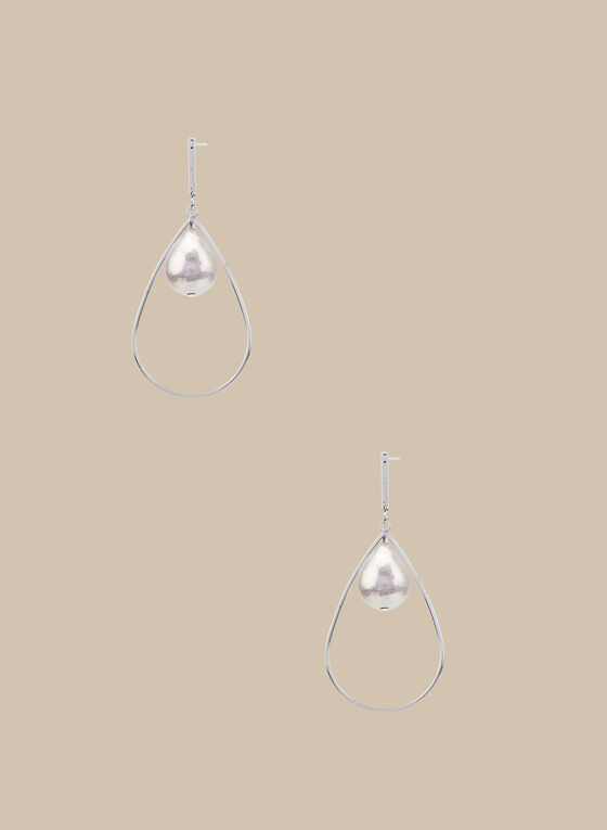 Pearl & Teardrop Dangle Earrings, Pink