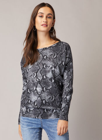 Snakeskin Print Sweater, Black,  fall winter 2020, sweater, dolman sleeve, snakeskin, print, printed, comfort, stretch, tonal, scoop neck