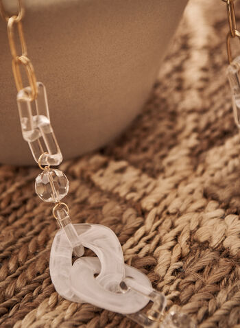 Mixed Link Necklace, White,  spring summer 2021, accessories, accessory, jewelry, jewellery, stones, transparent, frosted, see through