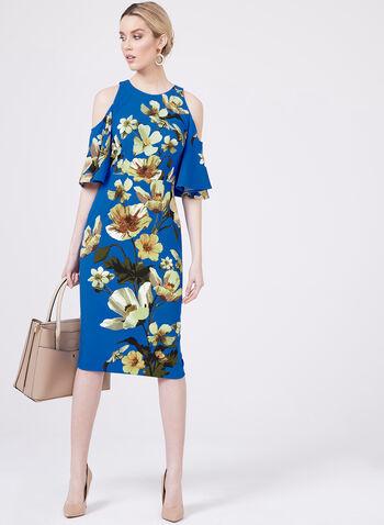 Maggy London - Robe fleurie à manches cloche et épaules ajourées, Bleu, hi-res