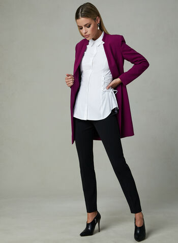 Corset Detail Long Sleeve Blouse, White, hi-res