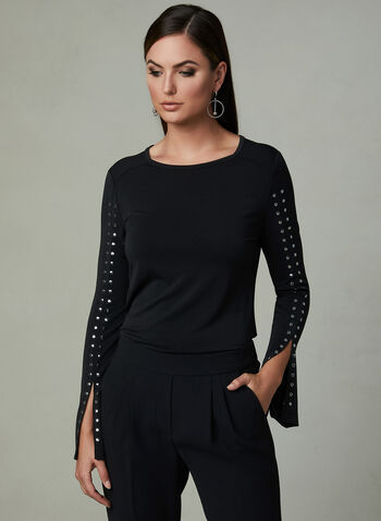 Studded Split Sleeve Blouse, Black, hi-res