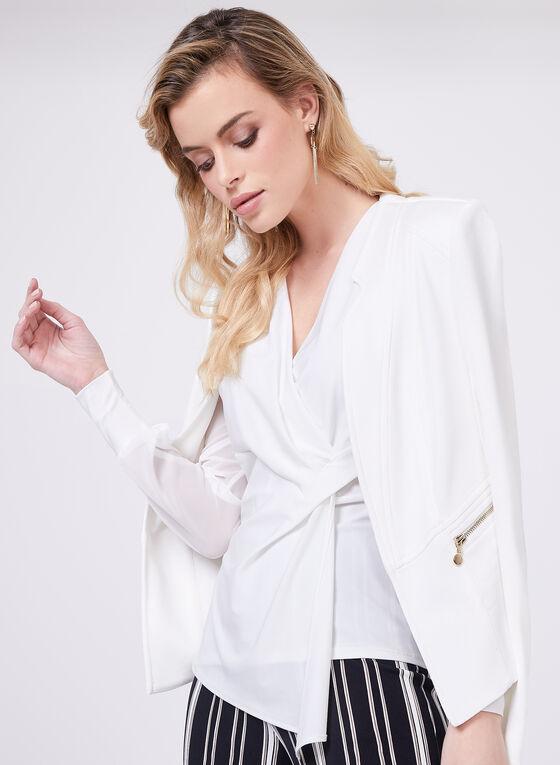 Blouse en jersey façon cache-cœur, Blanc cassé, hi-res