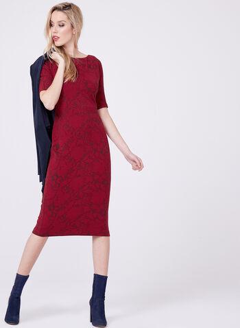 Maggy London - Robe fleurie en jacquard à manches coude, Rouge, hi-res