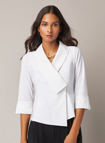 Joseph Ribkoff - 3/4 Sleeve Crossover Blouse, White,  blouse, crossover, v-neck, pearl, button, 3/4 sleeves, asymmetric, fall winter 2020