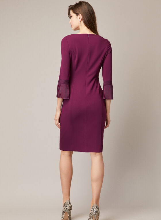 Dress With Pleated Elbow Sleeves, Purple