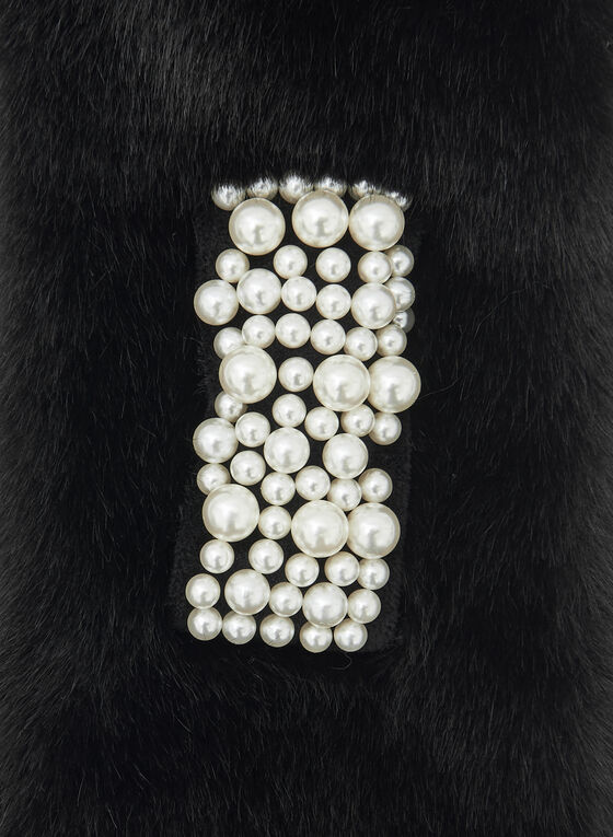 Faux Fur Pearl Detail Scarf, Black