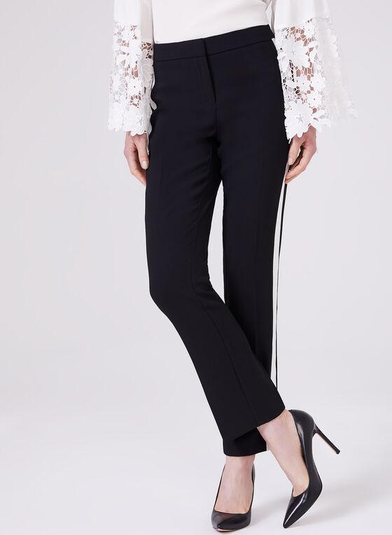Stripe Trim Slim Leg Pants, Black, hi-res