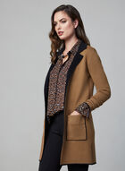 Notched Collar Knit Cardigan, Brown