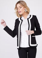 Contrasting Trim Open Blazer, Black, hi-res