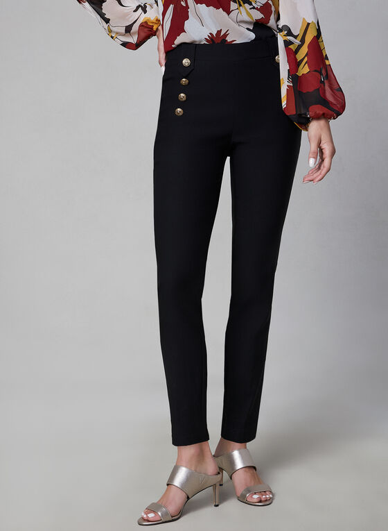 Bengaline Slim Leg Pants, Black, hi-res