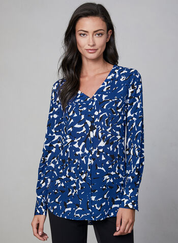 Abstract Print V-Neck Blouse, Blue, hi-res