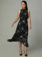 Kensie - Metallic Foil Print Dress, Black, hi-res