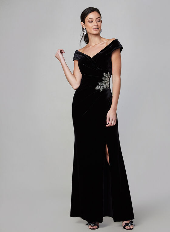 Alex Evenings - Velvet Off-the-Shoulder Dress, Black