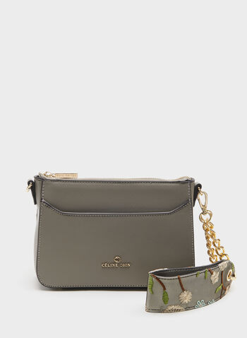 CÉLINE DION - Small Saffiano Print Crossbody Purse, Grey, hi-res