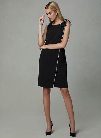 Karl Lagerfeld Paris - Robe portefeuille à boucle perlée, Noir, hi-res