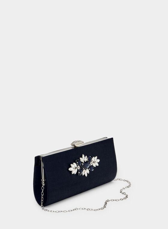 Pochette satinée à appliqué floral, Bleu