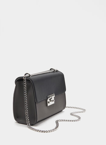 Two-Tone Chain Strap Purse, Grey, hi-res