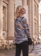Animal Print Long Sleeve Blouse, Blue