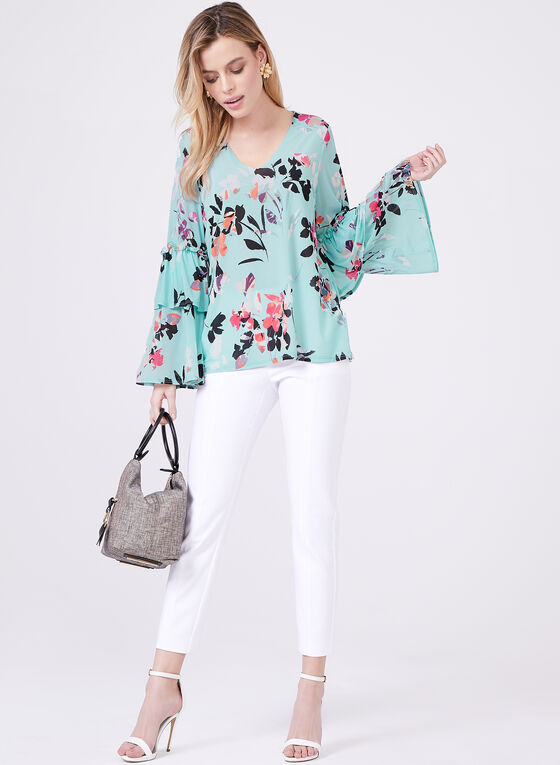 Ruffle Sleeve Floral Print Blouse, Blue, hi-res